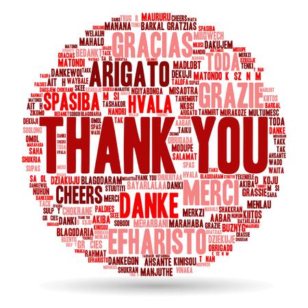 idiomas: Conceptual Vector gracias nube de palabras aisladas por negocios o Día de Acción de Gracias