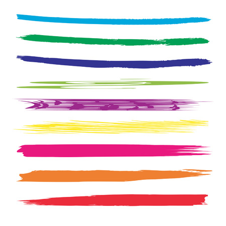 banner design: Vector collection or set of colorful paint hand made creative brush strokes isolated on white background