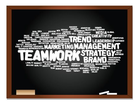 tag cloud: Vector concept or conceptual business abstract word cloud on blackboard and chalk background