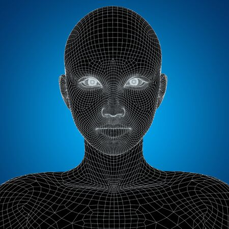 clone: Concept or conceptual 3D wireframe young human female or woman face or head on blue background
