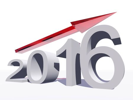 year increase: Conceptual 3D red 2016 year symbol with an arrow isolated on white background