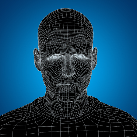 clone: Concept or conceptual 3D wireframe young human male or man face or head on blue background
