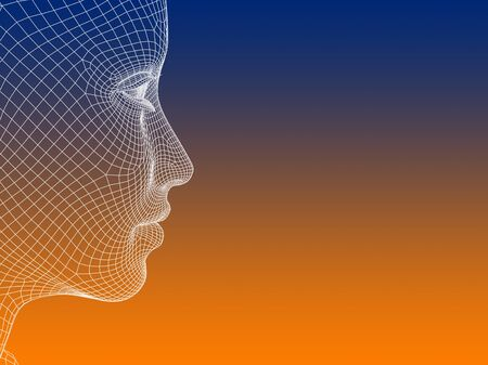 Concept or conceptual 3D wireframe young human female or woman face or head on orange and blue background