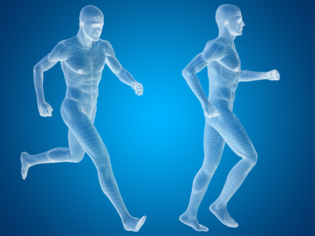 x sport: Conceptual man or human 3D anatomy or body on blue background