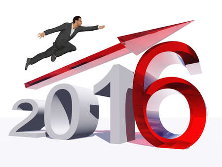year increase: Conceptual 3D human,man or businessman flying  over an red 2016 year symbol with an arrow isolated on white background