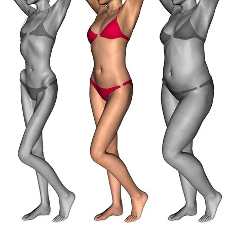 underweight: Conceptual 3D woman or girl as fat, overweight vs fit healthy, skinny underweight anorexic Stock Photo