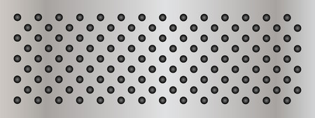perforation texture: Vector concept conceptual gray metal stainless steel aluminum perforated pattern texture mesh background banner