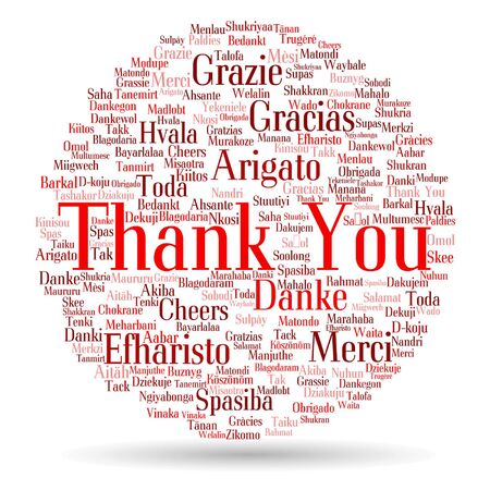 Vector conceptual thank you word cloud isolated for business or Thanksgiving Day Vetores