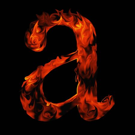 fire font: Conceptual red hot burning fire font  in red and orange flames isolated on black background