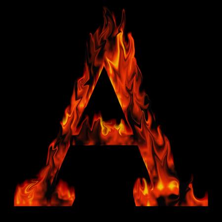 Conceptuele roodgloeiende brandende vuur lettertype in de kleuren rood en oranje vlammen op een zwarte achtergrond