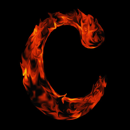 fiery: Conceptual red hot burning fire font  in red and orange flames isolated on black background