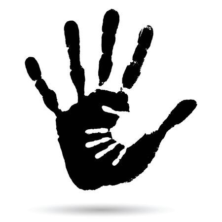 �infant: Concepto o conceptual lindo negro pintura de la mano de la huella de la mano la madre del ni�o aislado en el fondo blanco