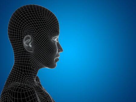 artificial: Concept or conceptual 3D wireframe young human female or woman face or head on blue background