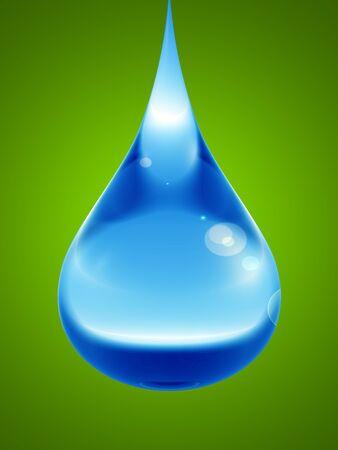 rain drop: Concept or conceptual clean cold rain water liquid drop falling, green gradient background Stock Photo