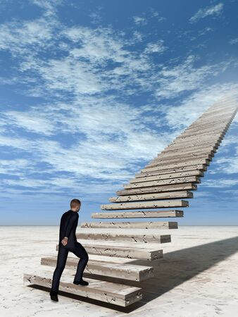 stone stairs: Concept conceptual 3D business man walking or climbing stair on sky background with clouds