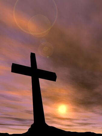 jesus clouds: Conceptual black cross or religion symbol silhouette in rock landscape over a sunset background Stock Photo