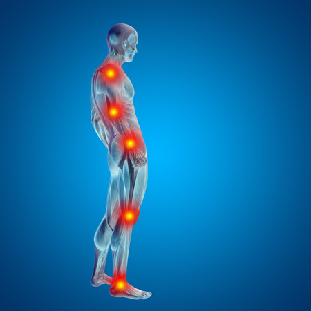 musculo: Conceptual cuerpo dolor en las articulaciones hombre anatom�a humana en 3D sobre fondo azul