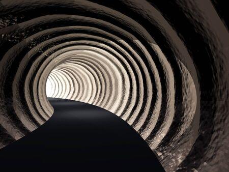 t�nel: Conceptual t�nel de carretera abstracto oscuro con la luz brillante en el fondo final