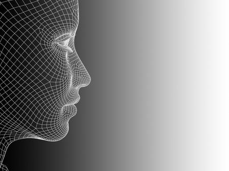 概念または概念の 3 D ワイヤー フレーム若い人間の女性または女性の顔黒と白の背景上の頭