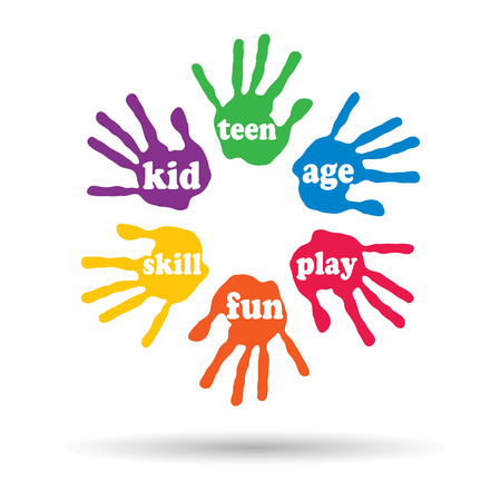 rainbow abstract: Concept or conceptual circle of colorful hand print word cloud text made by children isolated, white background Stock Photo
