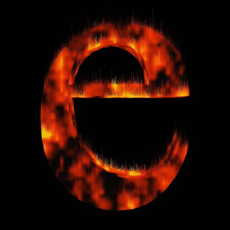 engulfed: Conceptual red hot burning fire font  in red and orange flames isolated on black background