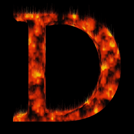 ardent: Conceptual red hot burning fire font  in red and orange flames isolated on black background