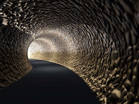 underworld: Conceptual dark abstract road tunnel with bright light at the end background Stock Photo