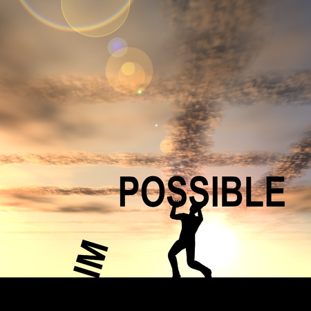 challenge: Concept conceptual 3D human man or businessman, black silhouette lifting an impossible or possible text at sunset Stock Photo