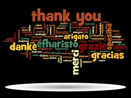business word: Conceptual thank you word cloud isolated for business or Thanksgiving Day