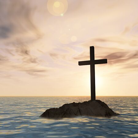 religion: Conceptual Christian cross on a little rock island in the ocean or sea with waves and the sky at sunset
