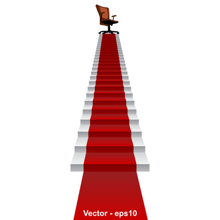 director chair: Vector concept conceptual 3d red carpet stair climbing to leader,chief or promotion chair on top isolated white background