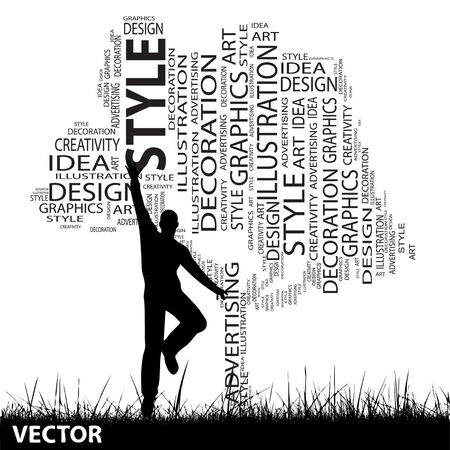man jumping: Vector concept or conceptual white abstract art tree and grass shape word cloud, a man jumping isolated on black background Illustration