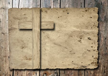 grunge cross: Old vintage Christian paper cross over wood wall background Stock Photo