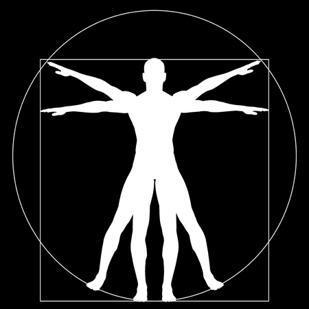 ウィトルウィウス人間か人として概念または概念 3 d 背景に分離された解剖体の割合 写真素材