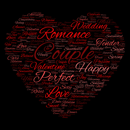 feel affection: Conceptual love or Valentine heart shape word cloud isoalted on black background Stock Photo