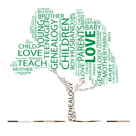 love life: Conceptual education tree word cloud background