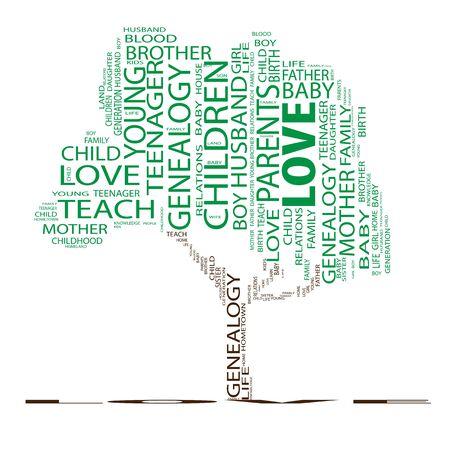 convivencia familiar: Árbol educación conceptual palabra nube fondo
