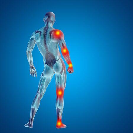 Conceptual cuerpo dolor en las articulaciones hombre anatomía humana en 3D sobre fondo azul Foto de archivo