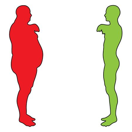 tight fit: Concept or conceptual 3D fat overweight vs slim fit diet with muscles young man isolated on white background