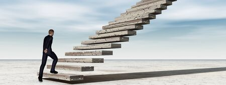 career development: Concept conceptual 3D business man walking or climbing stair on sky background with clouds banner
