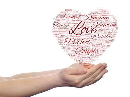 feel affection: Conceptual love or Valentine heart shape word cloud isoalted on white held in human hands Stock Photo