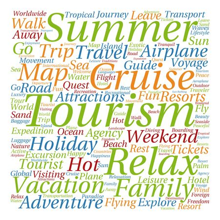 tagcloud: Conceptual colorful travel or tourism text word cloud tagcloud isolated on white background