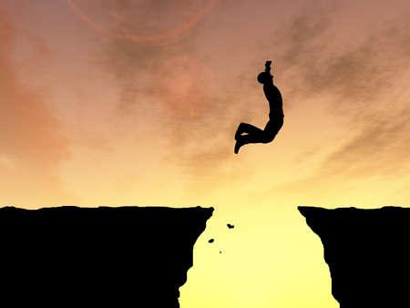 libertad: Concepto o conceptual joven hombre o una silueta hombre de negocios 3D feliz salta desde el acantilado sobre la puesta de sol o el cielo brecha amanecer de fondo Foto de archivo