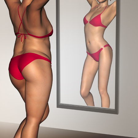 emaciated: Conceptual 3D woman, girl as fat overweight vs fit healthy  underweight anorexic female before and after diet in mirror