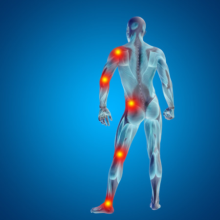 Conceptual 3D human man anatomy joint pain body on blue background 免版税图像