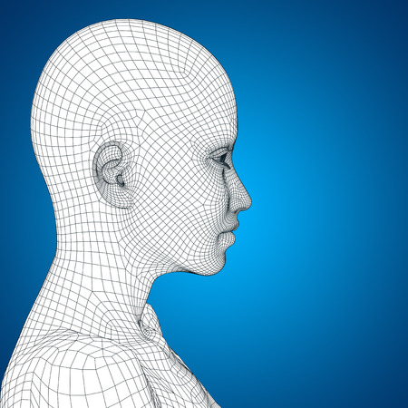 cyber woman: Concept or conceptual 3D wireframe young human female or woman face or head on blue background