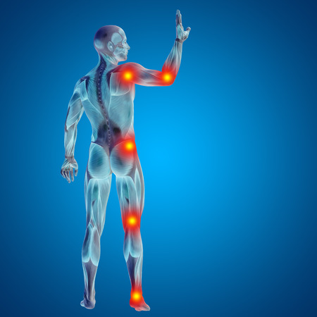 Conceptual 3D human man anatomy joint pain body on blue background Zdjęcie Seryjne