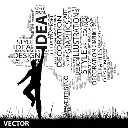 cloud shape: Vector concept or conceptual white abstract art tree and grass shape word cloud, a man jumping isolated on black background Illustration