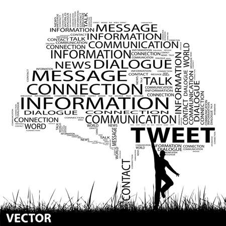 man jumping: Vector concept or conceptual black contact tree and grass word cloud, a man jumping on white background Illustration