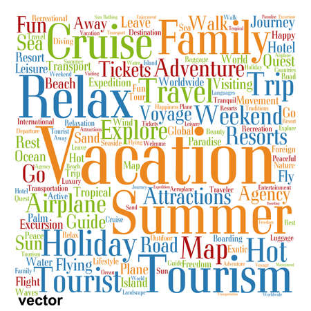 tagcloud: Conceptual colorful travel or tourism text word cloud tagcloud isolated Illustration